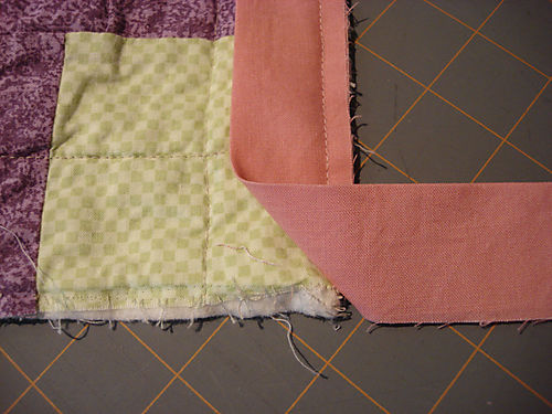 Binding a quilt step 3
