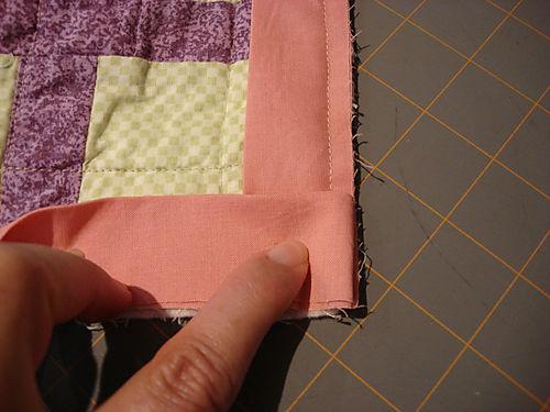 Binding a quilt step 4