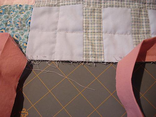Binding a quilt step 6