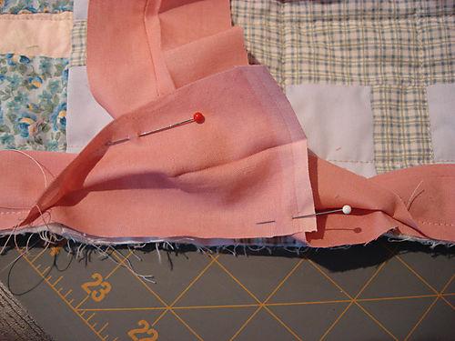 Binding a quilt Step 7